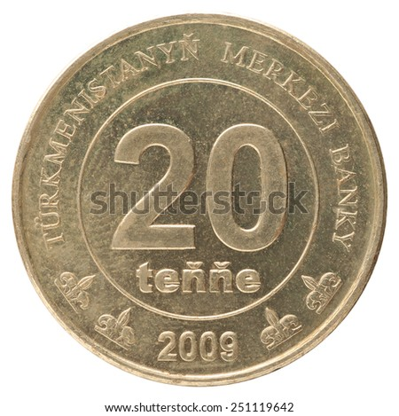 Turkmenistani 20 tenne coin closeup on a white background stock