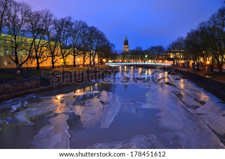Turku, Finland. Beautiful purple twilight over  the river Aura