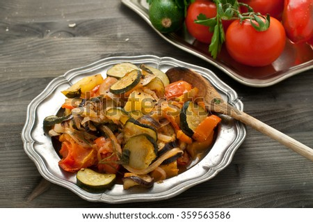 Turlu, typical dish of Turkish cuisine based on vegetables, turkey - stock photo