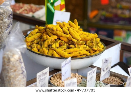 Turmeric at the indian spice market - stock photo