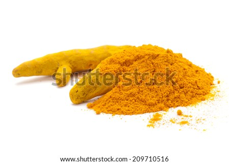 Turmeric barks and powder isolated on white background