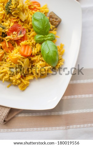 turmeric basmati rice with mediterranean vegetables and chicken - stock photo