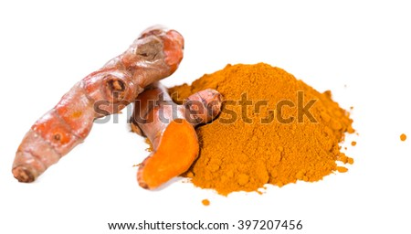 Turmeric (close-up shot, selective focus) isolated on white background - stock photo
