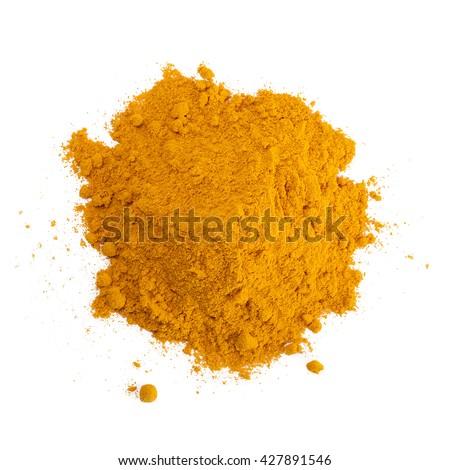 Turmeric (Curcuma) powder isolated on white background. Curry powder. - stock photo