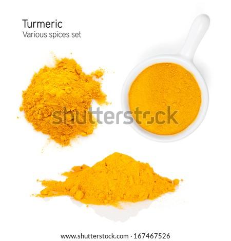 Turmeric. Isolated on white background - stock photo