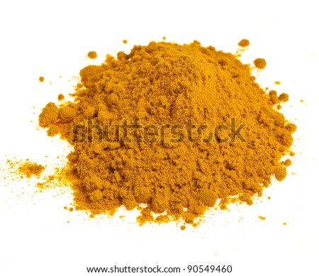 Turmeric powder ground spice pile  isolated on white background