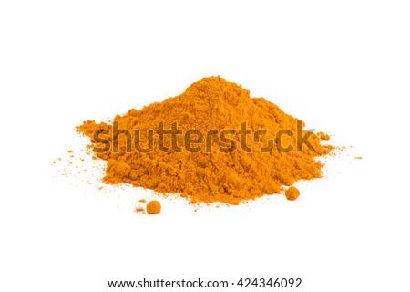 turmeric powder isolated on white background - stock photo