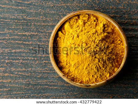 Turmeric powder ,Turmeric background ,View from the top. - stock photo