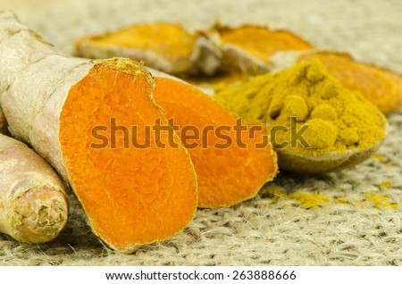 Turmeric Root and Powder on Gunny Background. - stock photo