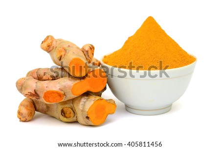 Turmeric roots and powder isolated on white background