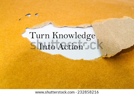 Turn knowledge into action concept on brown envelope   - stock photo