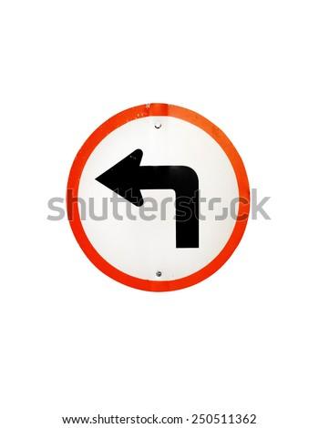 Turn left traffic sign on white backgrounds - stock photo