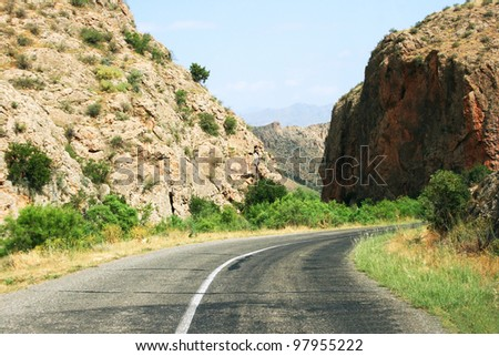 Turn of mountain road in Armenia.