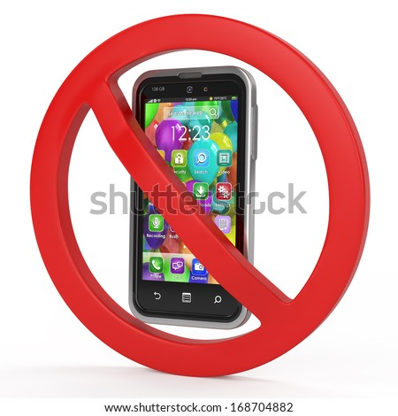 turn off mobile phones, forbidden sign concept - stock photo