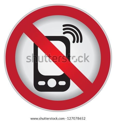 Turn Off Your Mobile Phone or Mobile Phone Are Not Allowed Prohibited Sign Isolated on White Background - stock photo
