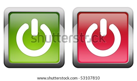 Turn on off buttons - stock photo
