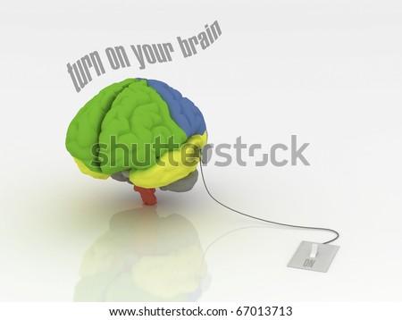Turn on your brain - stock photo