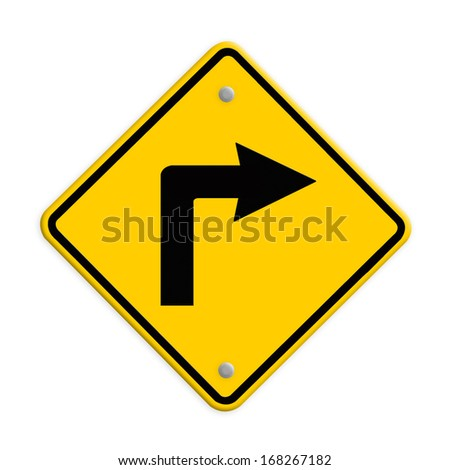 Turn right road sign. Part of a series. - stock photo