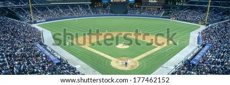 Turner Field at night, World Champion Braves, Atlanta, Georgia - stock photo