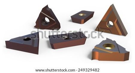 Turning inserts isolated on white - stock photo