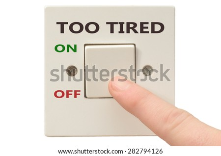 Turning off Too tired with finger on electrical switch - stock photo