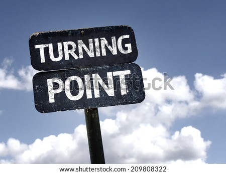 Turning Point sign with clouds and sky background  - stock photo