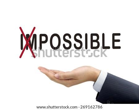 turning the word impossible into possible by businessman's hand over white background - stock photo