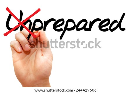 Turning the word Unprepared into Prepared, business concept - stock photo