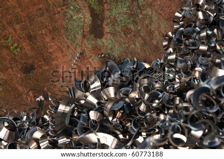 turnings borings for industrial background - stock photo