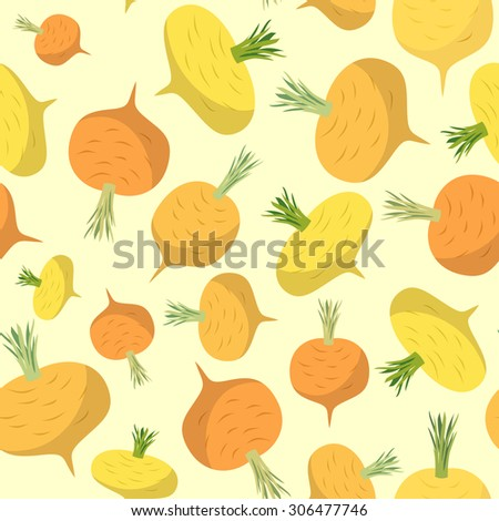 Turnip seamless pattern. Vegetable background ripe turnip  - stock photo
