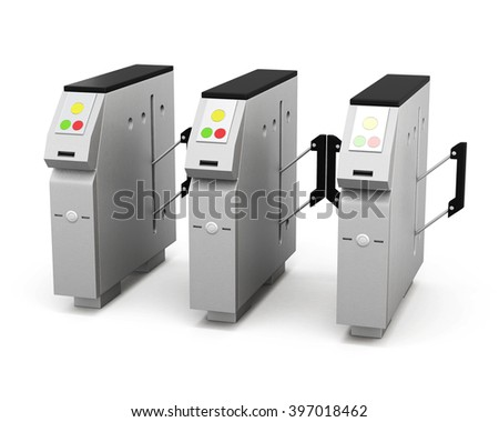 Turnstile isolated on white background. 3d rendering. - stock photo