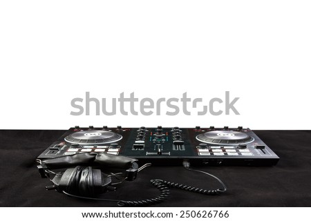 turntable and headphone for disc jockey to play music isolated on white background with clipping path - stock photo