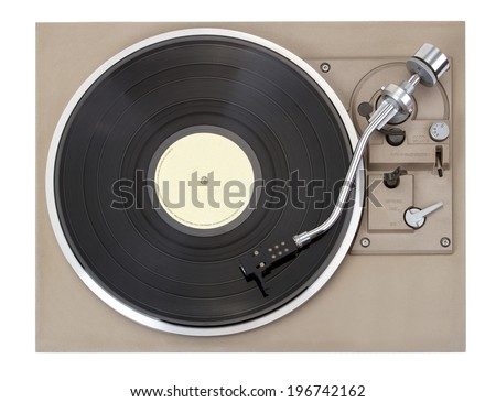 Turntable, isolated on white background - stock photo