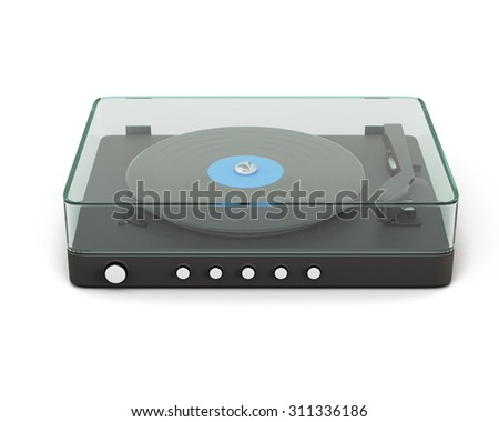 Turntable isolated on white background. 2d render image. - stock photo