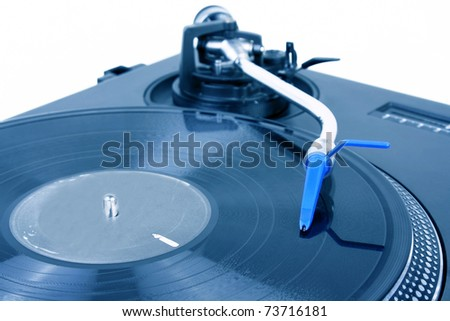 Turntable with blue needle - stock photo