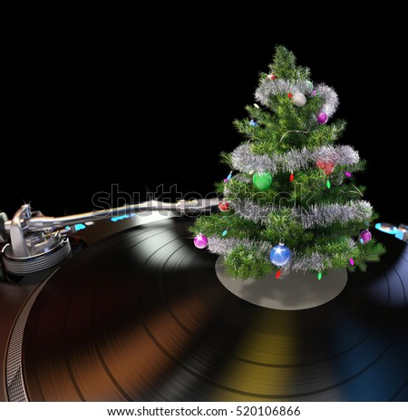 Turntable with Christmas Tree Abstract Background. 3D illustration