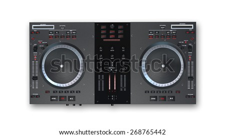 Turntables, audio equipment isolated on white background, top view - stock photo