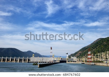 TURNU SEVERIN-ROMANIA, SEP 16:The Iron Gate I Hydroelectric Power Station is the largest dam on the Danube river, in Turnu Severin, in september16, 2015