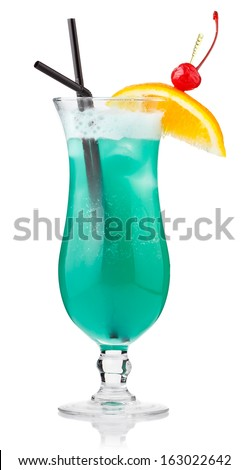 Turquoise alcohol cocktail with berries and orange slice isolated on white background