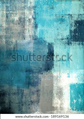 Turquoise and Grey Abstract Art Painting - stock photo