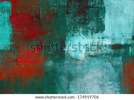 Turquoise and Red Abstract Art Painting - stock photo