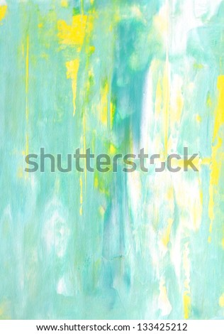 Turquoise and Yellow Abstract Art Painting - stock photo