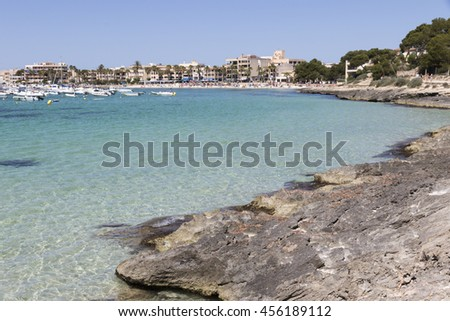 Turquoise beach in Colonia St Jordi Majorca island Spain