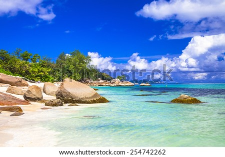 turquoise beaches of Seychelles  - stock photo
