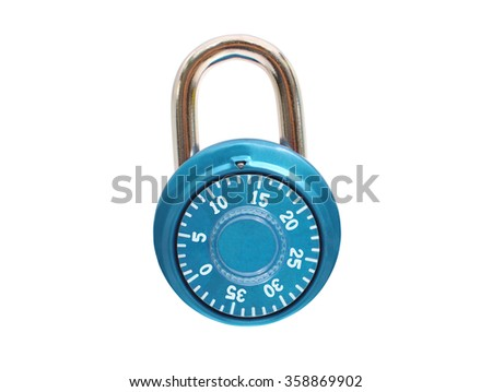 Turquoise Blue Metal Padlock isolated on white background
