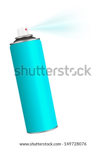 Turquoise blue spray can with spray - white background - stock photo
