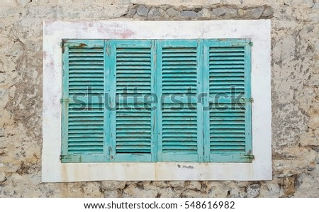 turquoise blue wooden shutters ibiza stock photo 548616982