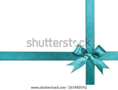 Turquoise bow isolated on white background  - stock photo