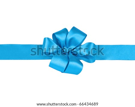 turquoise bow on a white background - stock photo