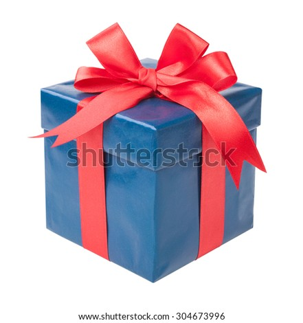 Turquoise box with a gift and a red bow isolated on white background. - stock photo